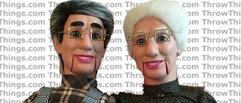 old man and lady ventriloquist dummy